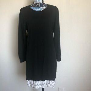 Anthropologie Moth Dress Sweater Knit Polka hem L